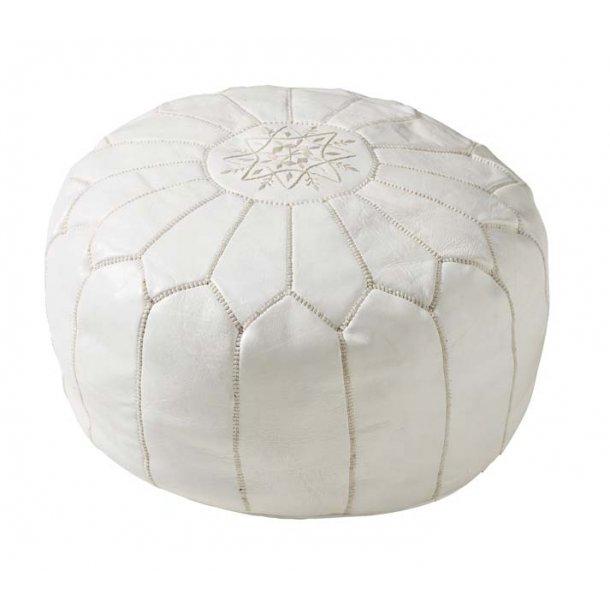 Marokkopude i hvid læder